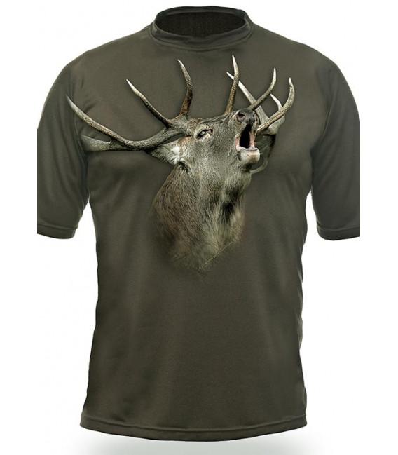 Poľovnícke tričko kr. rukáv Jeleň 3D b. dub