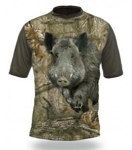 Poľovnícke tričko kr. rukáv Divaik 3D b. Kamufláž