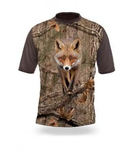 Poľovnícke tričko kr. rukáv Liška 3D b. Kamo
