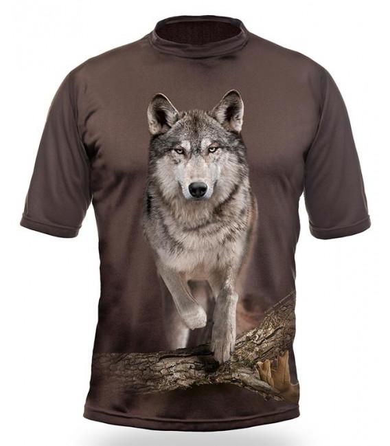 Poľovnícke tričko kr. rukáv Vlk 3D b. dub