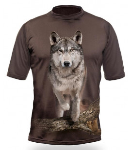 Myslivecké tričko kr. rukáv Vlk 3D b. Dub
