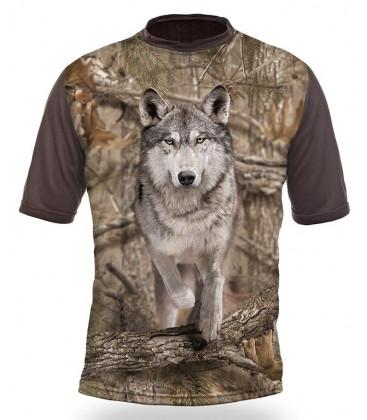 Poľovnícke tričko kr. rukáv Vlk 3D b. Kamufláž