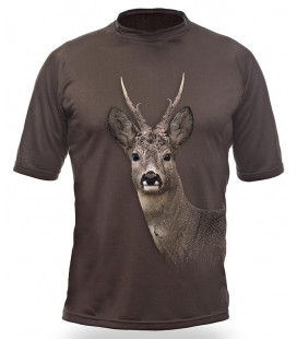 Poľovnícke tričko kr. rukáv Srnec 3D b. dub