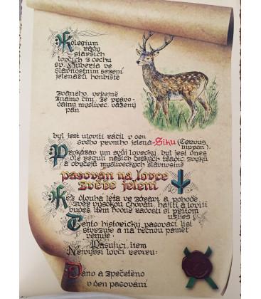 Pasovací list na lovce zvěře jelení, sika