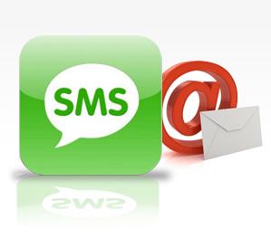 e-mail na SMS